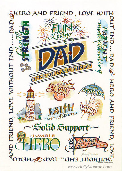 Dad Generous & Giving design with grateful words about a father. Holly Monroe calligraphy print