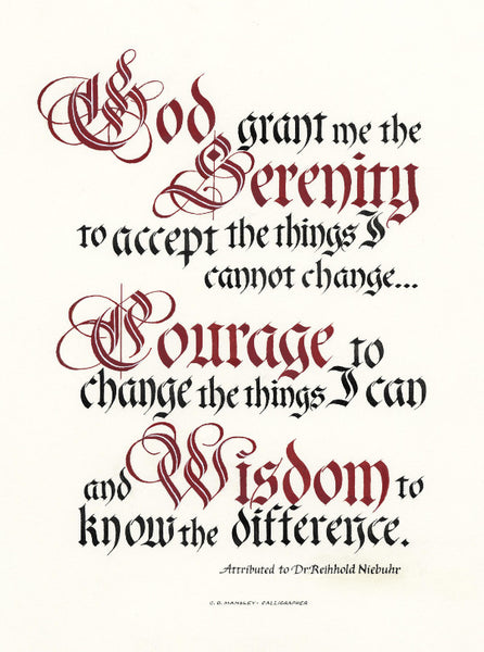 God grant me the Serenity Prayer Print Clifford D Mansley Sr Calligraphy