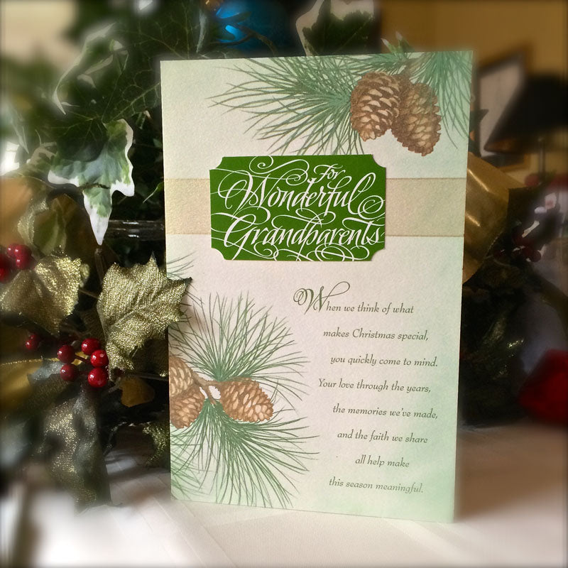 For Wonderful Grandparents Christmas Holly Monroe calligraphy DaySpring cards Ph 1