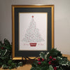 Custom Framed Print of Christmas Tree-Names of Jesus by Clifford Mansley Calligraphy