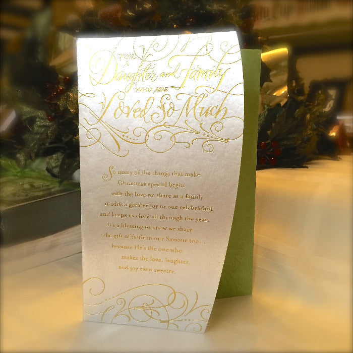 For a Daughter and her Family Loved so Much calligraphy Christmas card Holly Monroe
