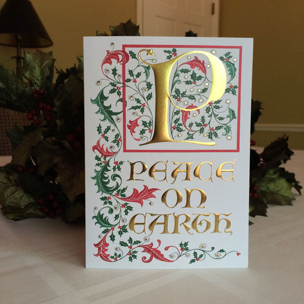 Peace On Earth Christmas Card with Clifford D Mansley Calligraphy