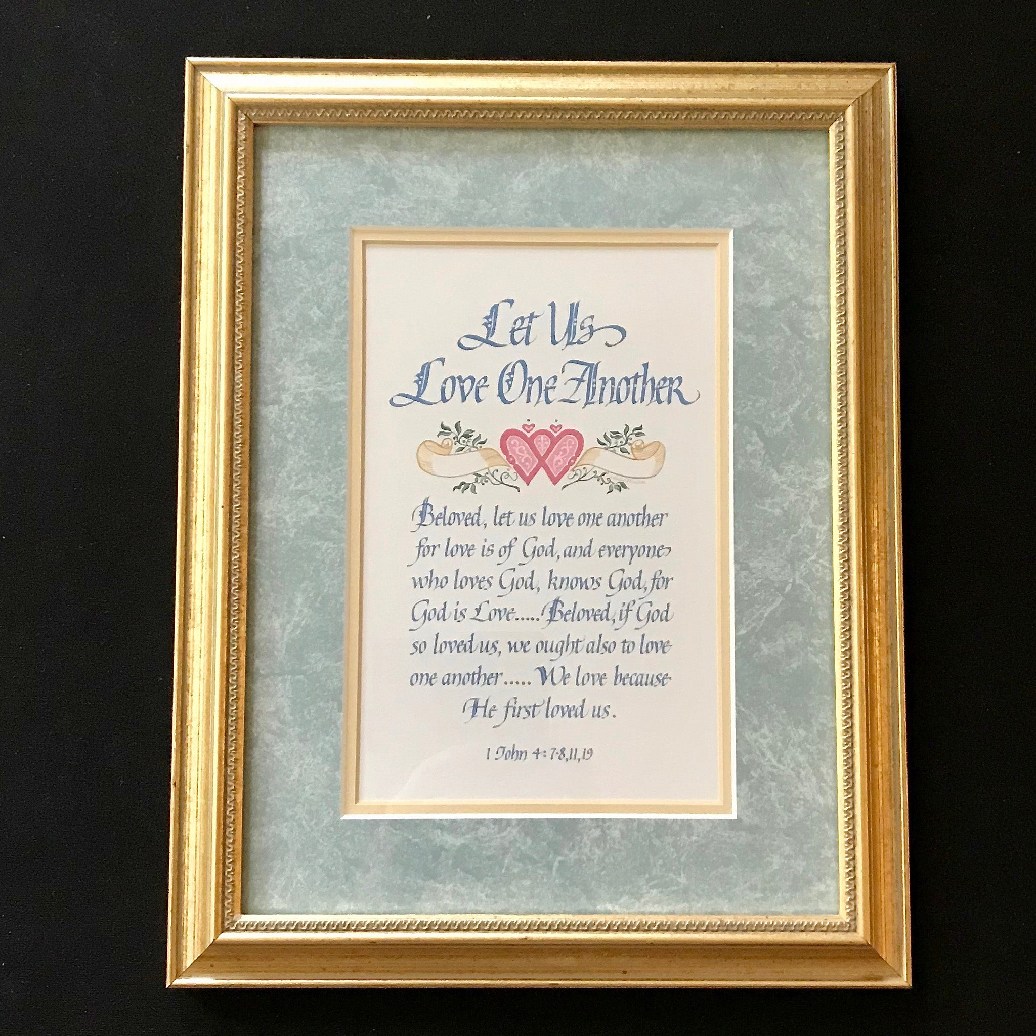 Let Us Love One Another 1 John 4 Holly Monroe Calligraphy Framed Print