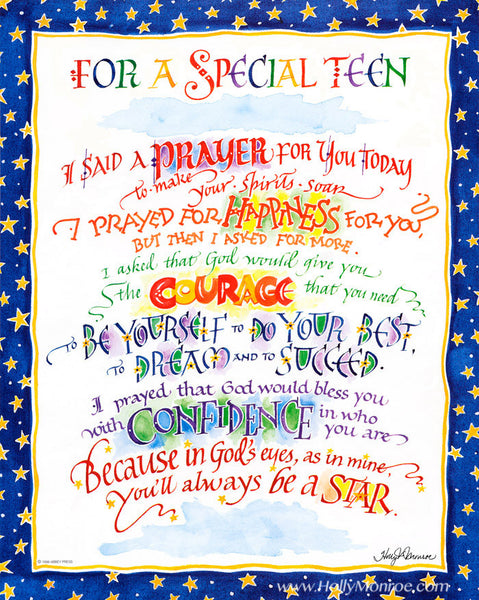 For a Special Teen Prayer Holly Monroe calligraphy print