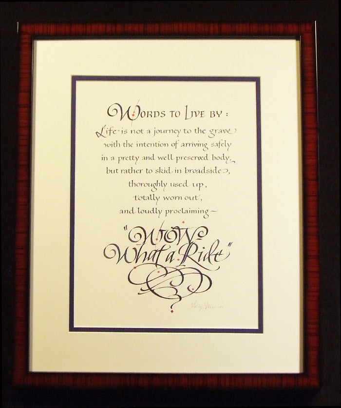 Framed Wow What A Ride Holly Monroe Calligraphy Print