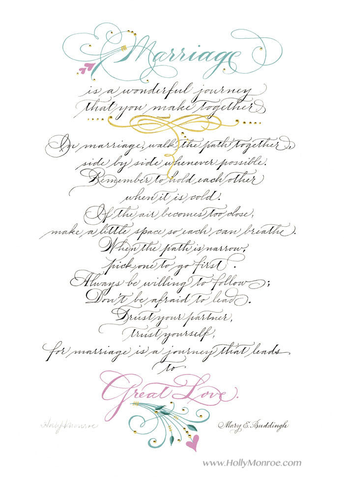Marriage Great Love Holly Monroe Calligraphy Print