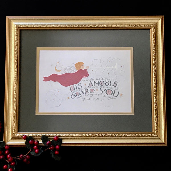 His Angels Guard Pink Ps 91 Holly Monroe calligraphy print