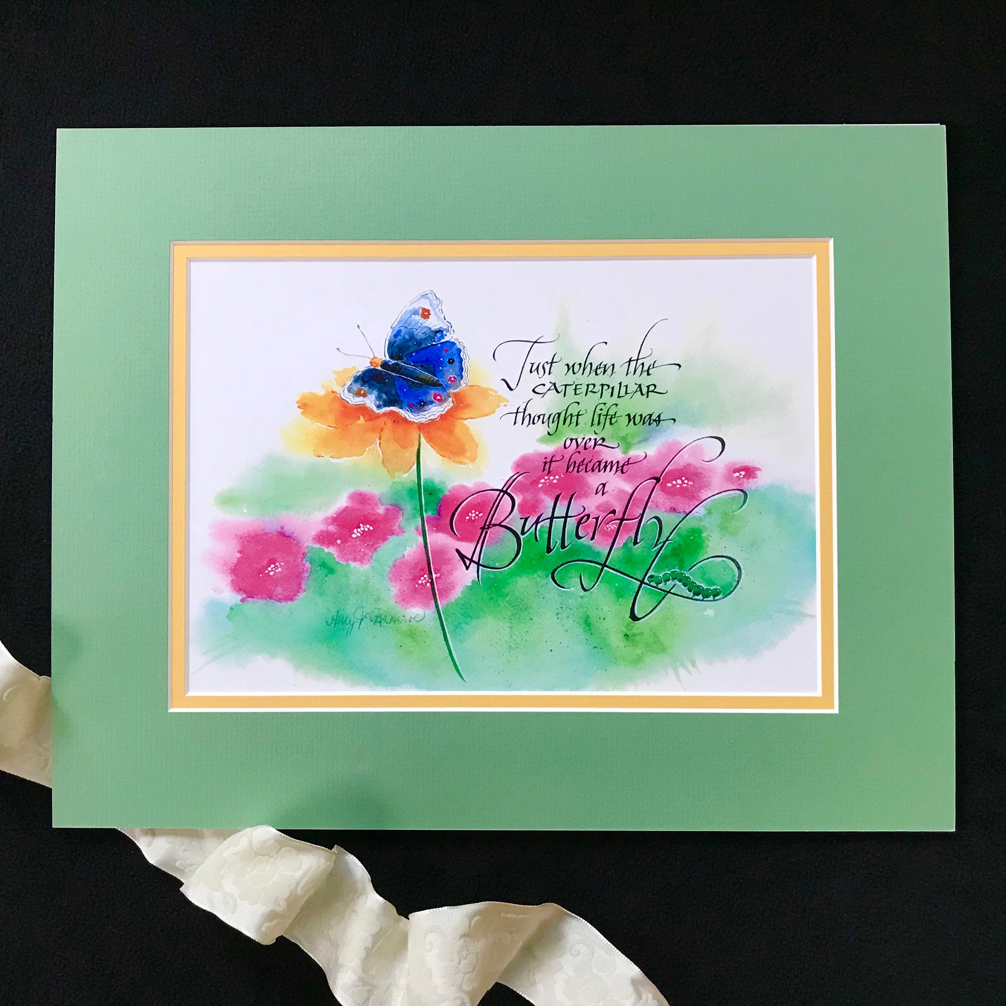 Holly Monroe framed calligraphy print Caterpillar becomes a butterfly