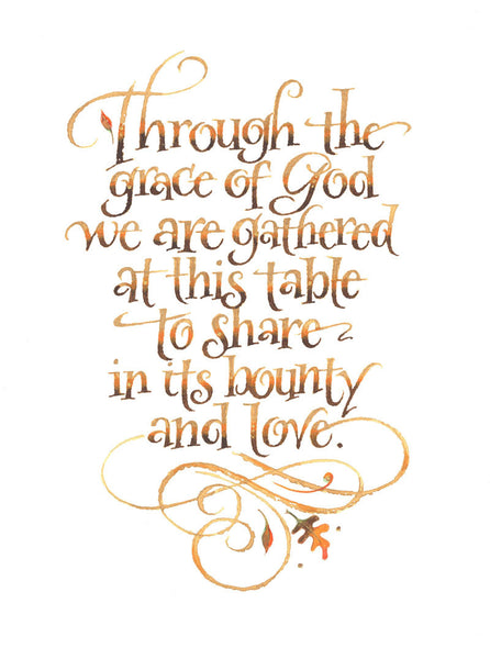 Through the Grace of God Thanksgiving Card Holly Monroe Calligraphy Print