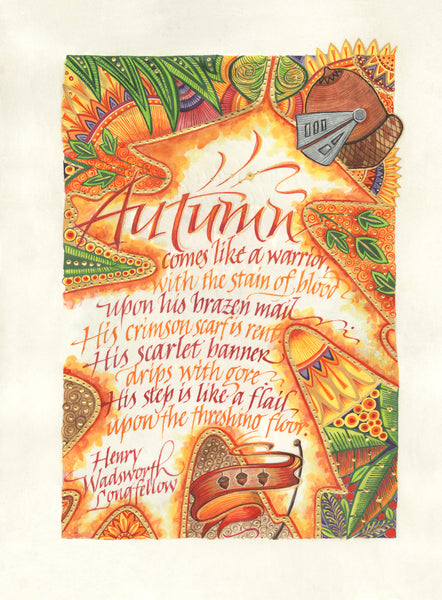 Autumn Comes Like A Warrior  Holly Monroe Calligraphy Print