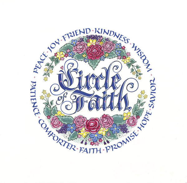 Circle of Faith roundel calligraphy print Peace Joy Friend Kindness Holly Monroe