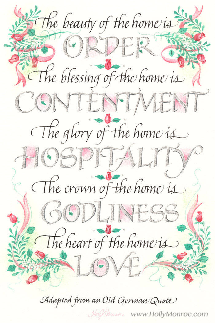 Holly Monroe Calligraphy The Beauty Of The Home Art Print German Quote