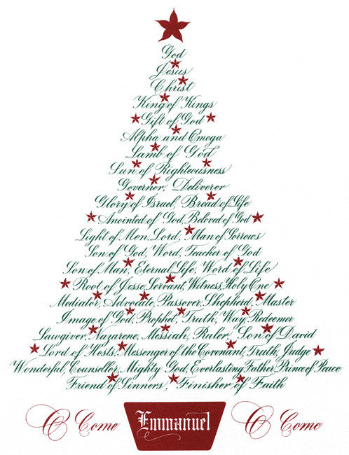 Christmas Calligraphy.Christmas Tree Names Of Jesus