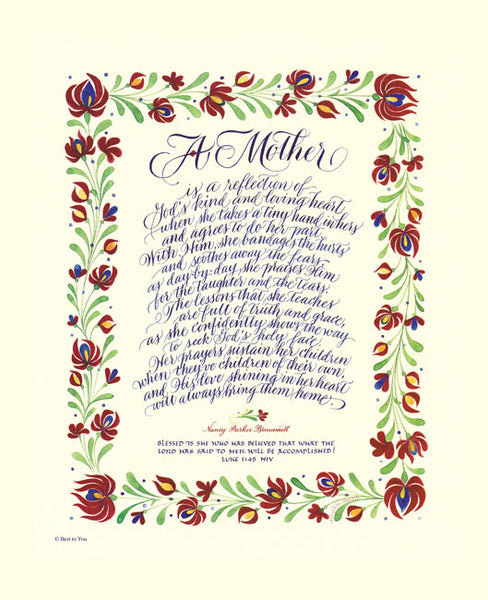 Holly Monroe calligraphy print A Mother