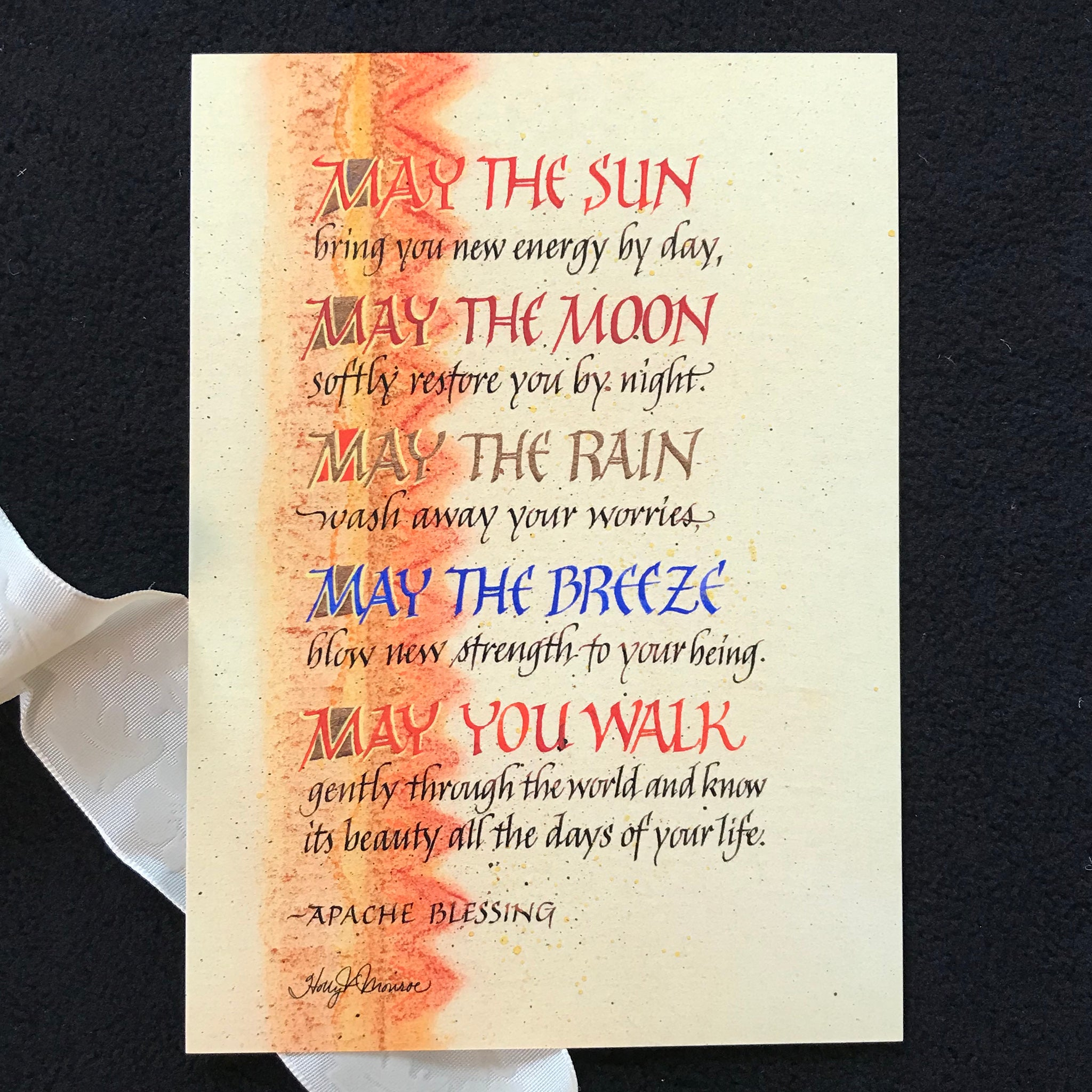 May The Sun - Apache Blessing Fine Art Print Holly Monroe Calligraphy