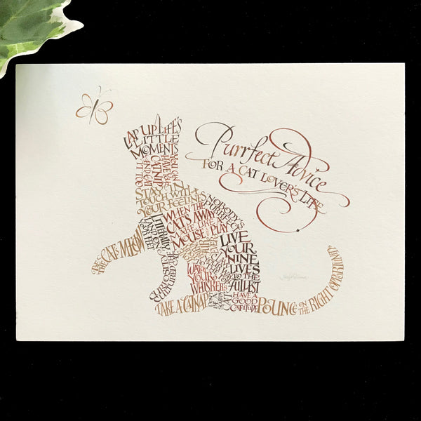 Cat Purrfect Advice Fine Art Print Holly Monroe Calligraphy