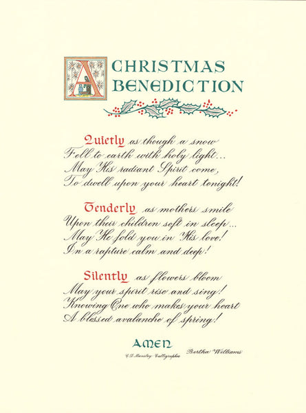 A Christmas Benediction print Clifford Mansley Heirloom Artists calligraphy