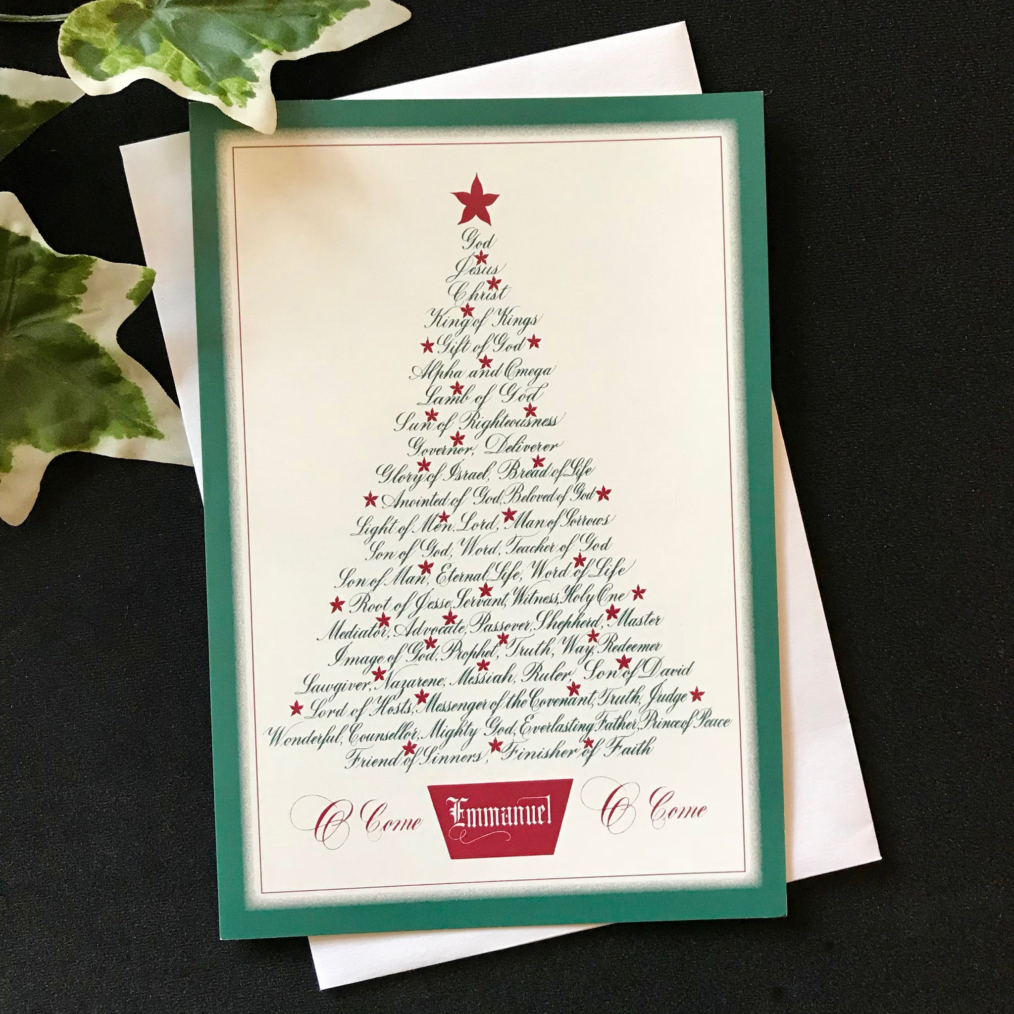 Christmas Tree Names of Jesus card God Jesus Christ King of Kings Clifford Mansley calligraphy