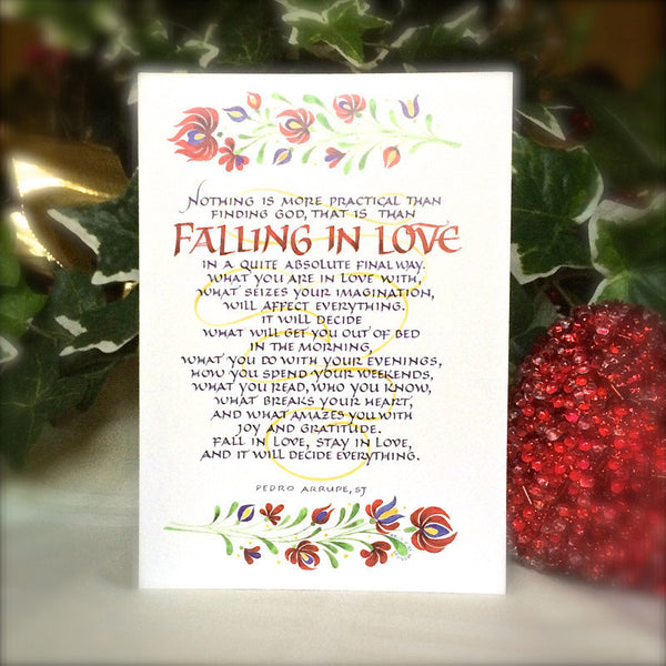 Falling In Love Card Holly Monroe Calligraphy Pedro Arrupe
