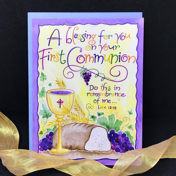 First Communion Luke 22 blessing calligraphy card Holly Monroe