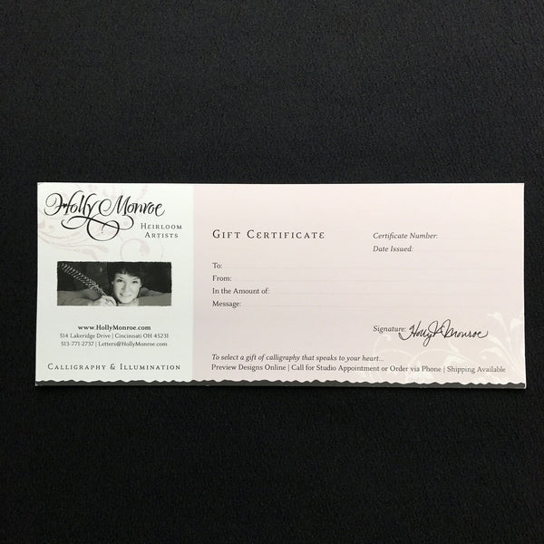 Gift Certificate Holly Monroe calligraphy