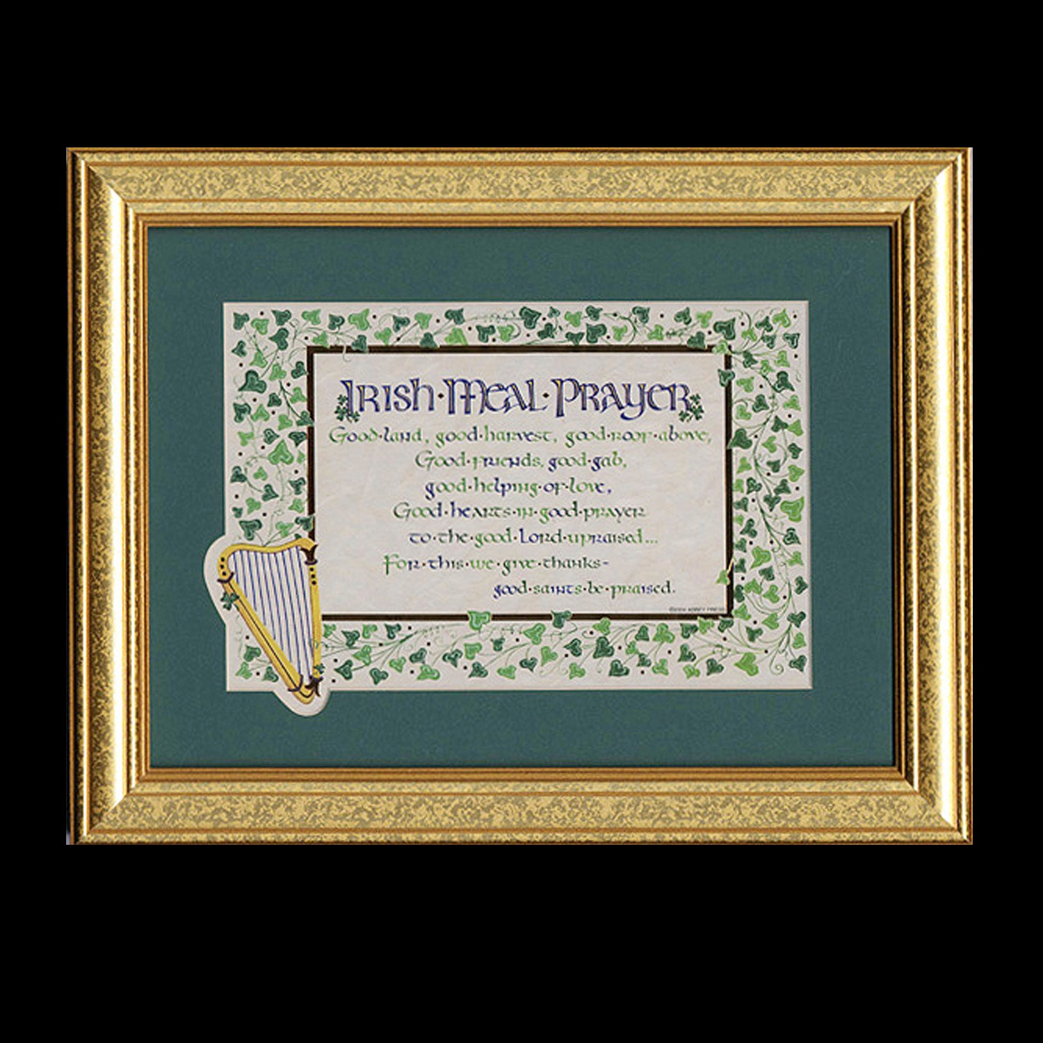 Irish Meal Prayer Framed Calligraphy Print Holly Monroe Calligrapher