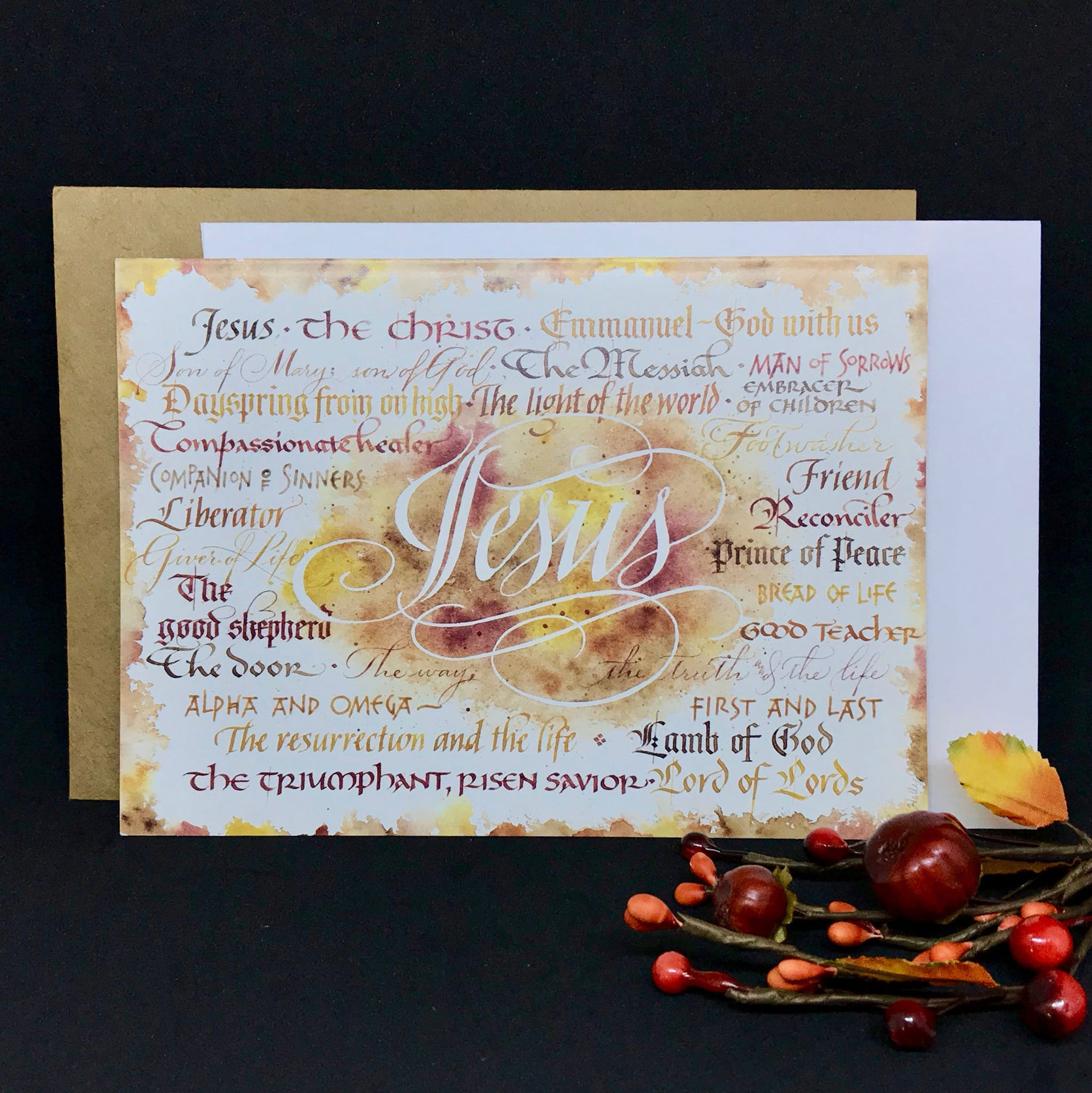 Names of Jesus Card with calligraphy by Holly Monroe