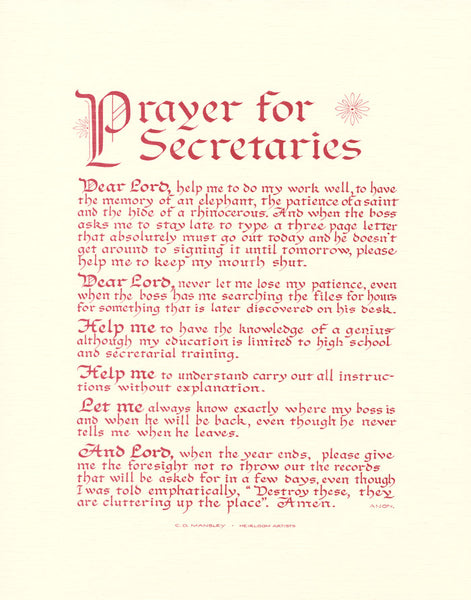 Prayer for Secretaries archival art print by Holly Monroe Calligraphy