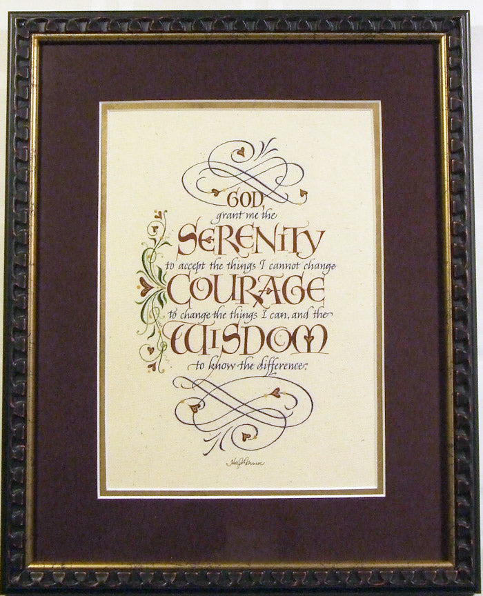 holly monroe framed calligraphy print god grant me the serenity prayer with