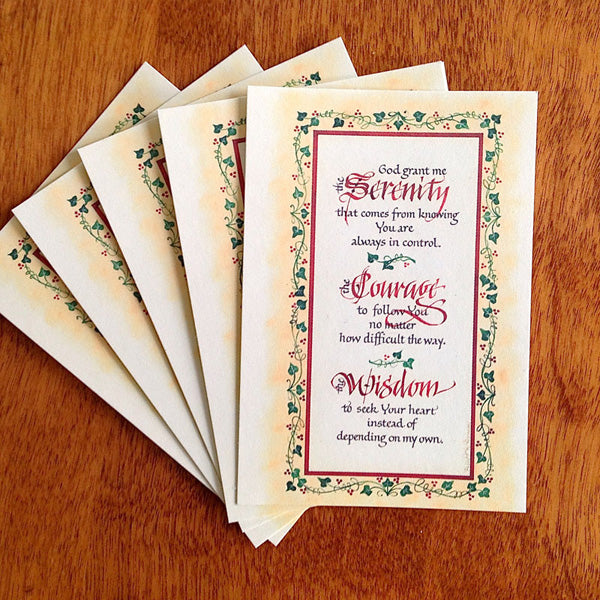 Serenity Courage Wisdom Pass It On Card with Holly Monroe Calligraphy