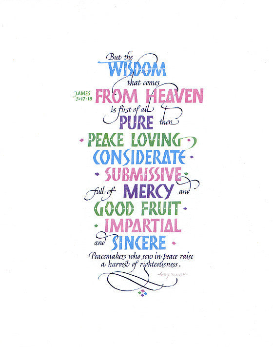 Archival Art Print Wisdom From Heaven Holly Monroe Calligraphy
