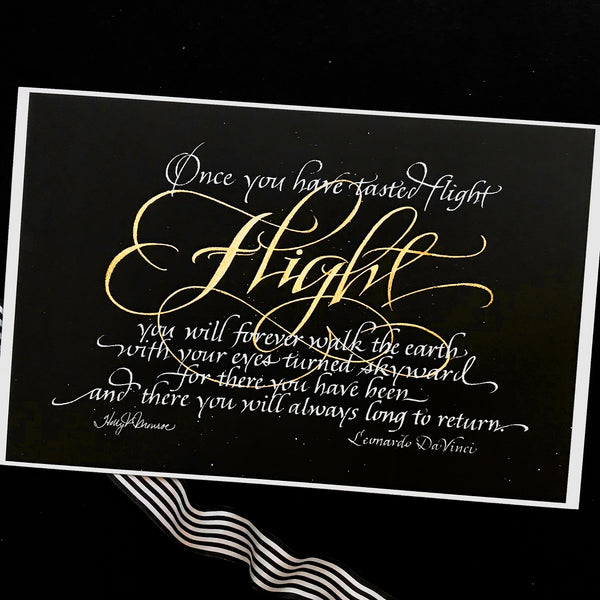 Once you have tasted Flight  DaVinci calligraphy print Holly Monroe