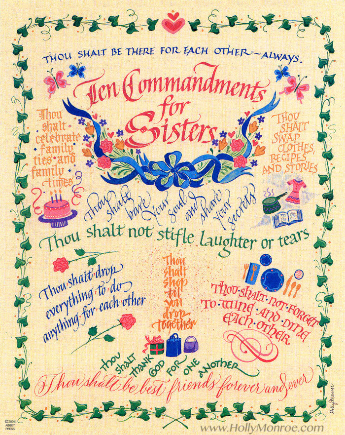 Ten Commandments for Sisters Holly Monroe Calligraphy Print