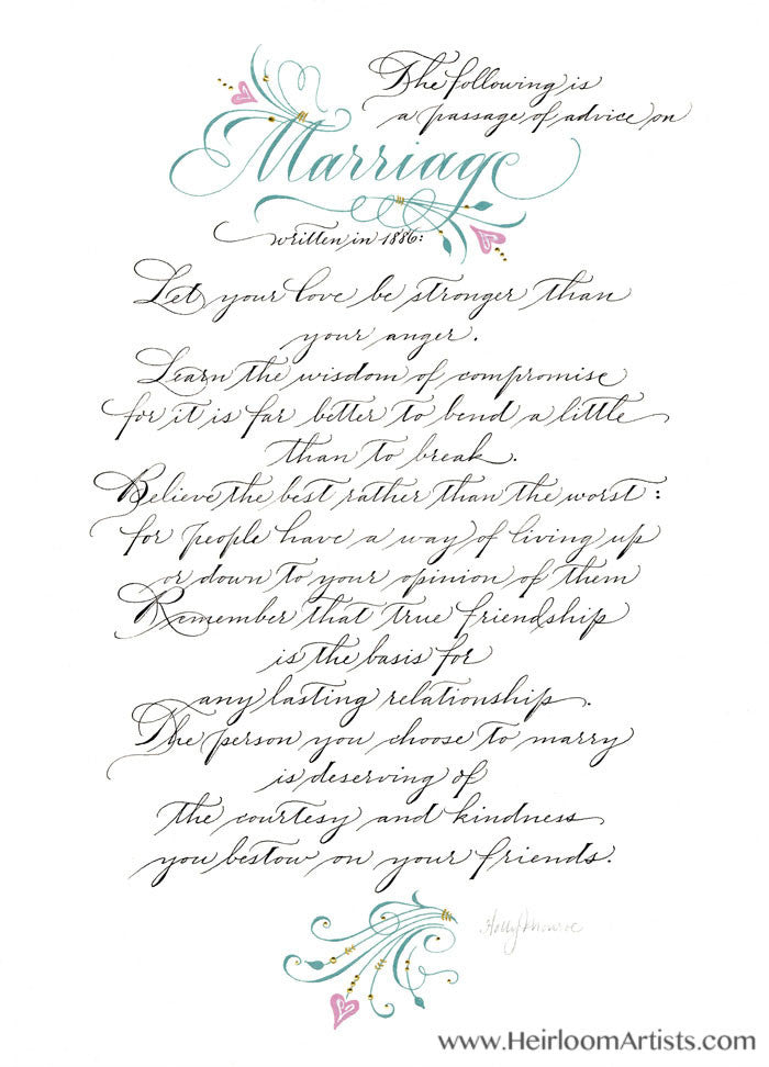 Marriage 1886 Holly Monroe Calligraphy Print