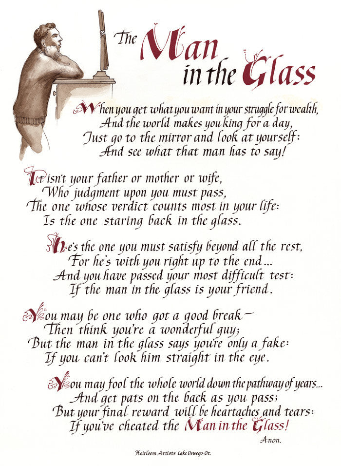 The Man In The Glass Calligraphy Print Clifford D Mansley Sr