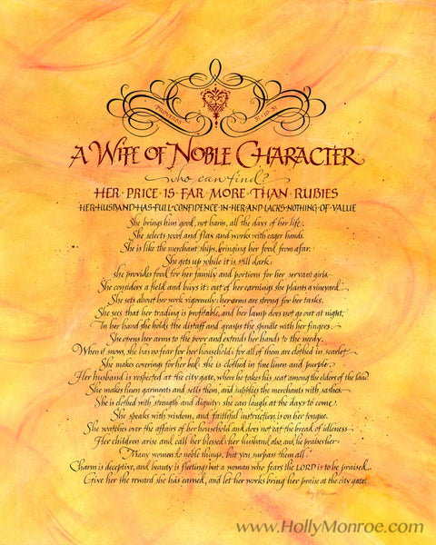 A Wife of Noble Character Virtuous Woman Proverbs Holly Monroe calligraphy print