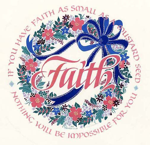 Faith as small as a mustard seed calligraphy roundel print Matthew 17 Holly Monroe