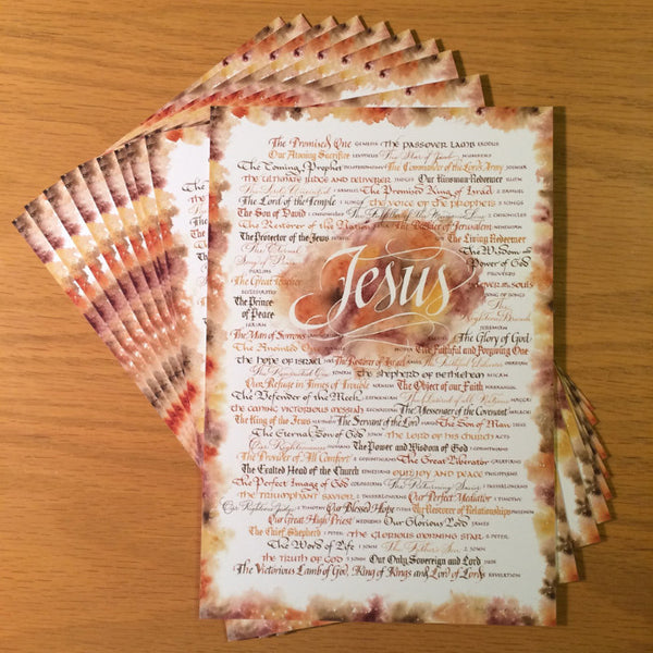 Jesus Revealed in each book of the Bible Holly Monroe calligraphy