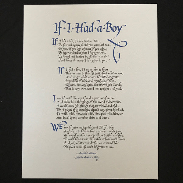 Fine Art Print of If I Had A Boy by Holly Monroe Calligraphy