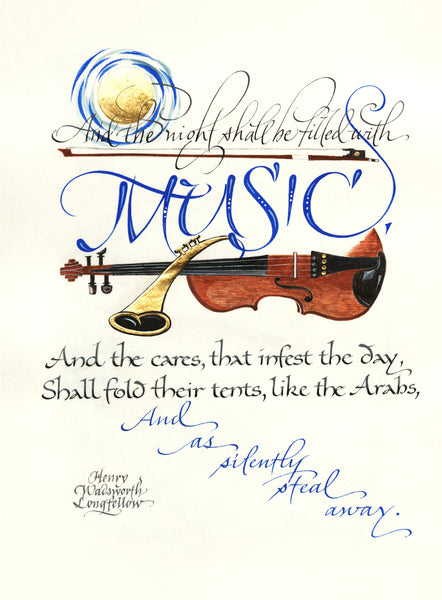 And the Night Shall be filled with Music - Holly Monroe Calligraphy Print