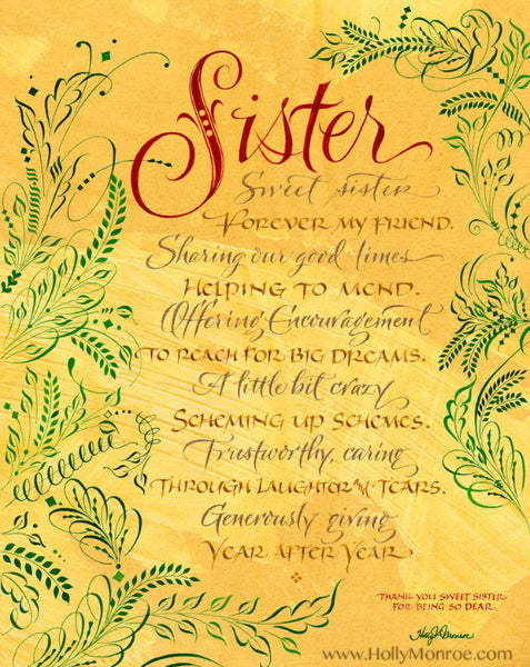 Sister Sweet Sister Holly Monroe Calligraphy Print