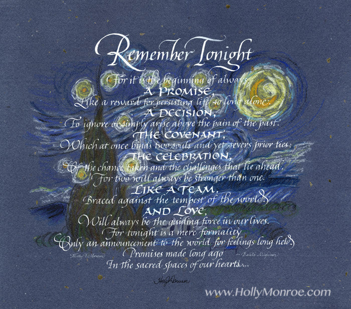 Dante Alighieri Remember Tonight Holly Monroe Calligraphy Print