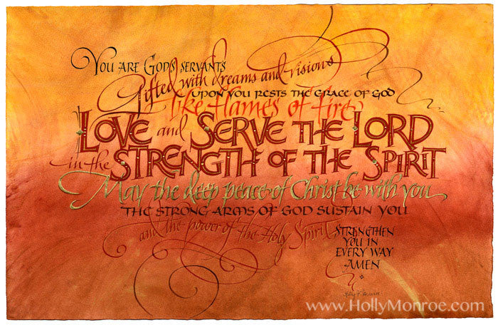 Holly Monroe calligraphy print Love and Serve the Lord benediction prayer