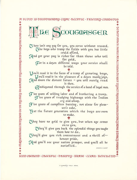 The Scoutmaster Clifford D Mansley Sr Calligraphy Print