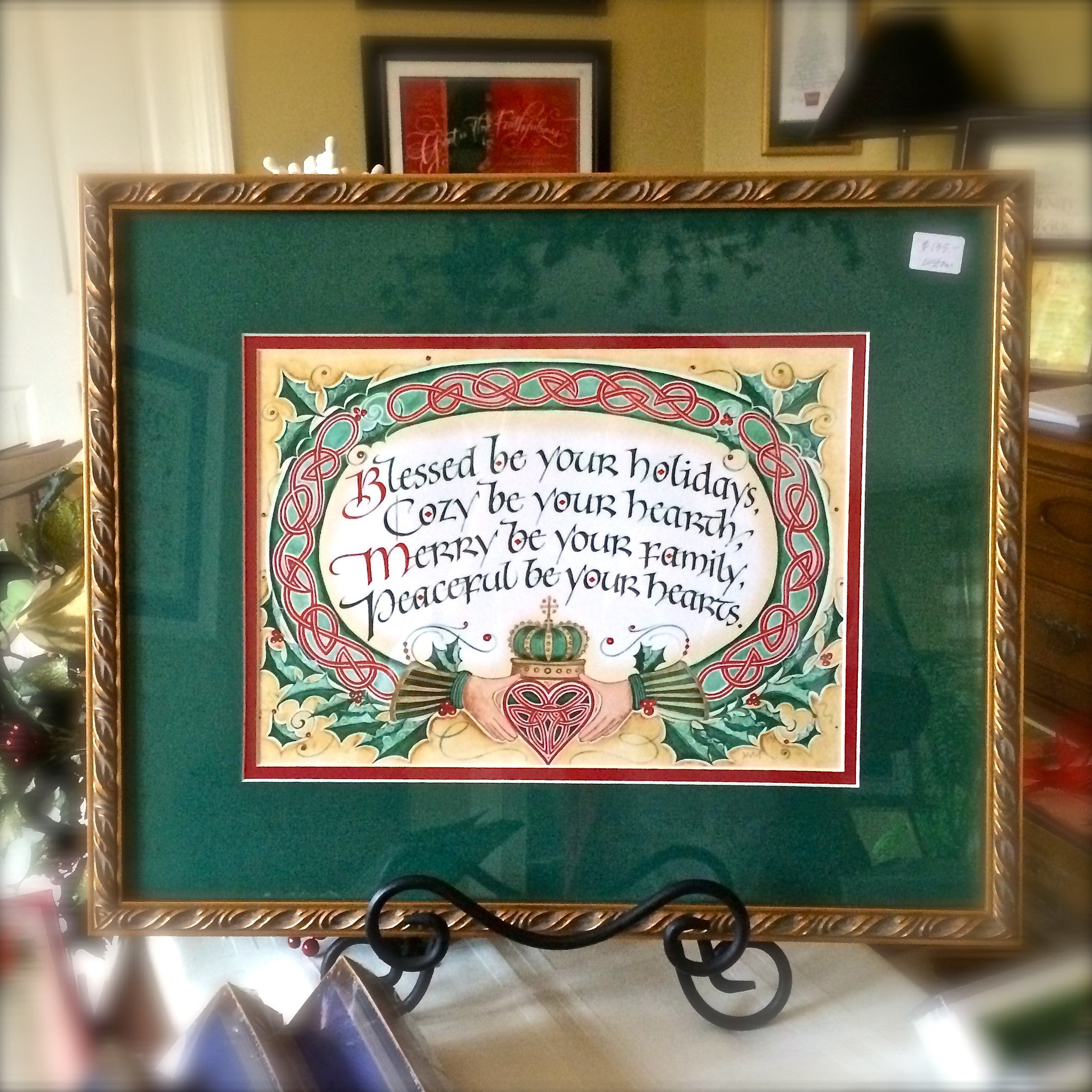 Holly Monroe Irish framed calligraphy Blessed be your holidays Cozy hearth Merry Peaceful Heart