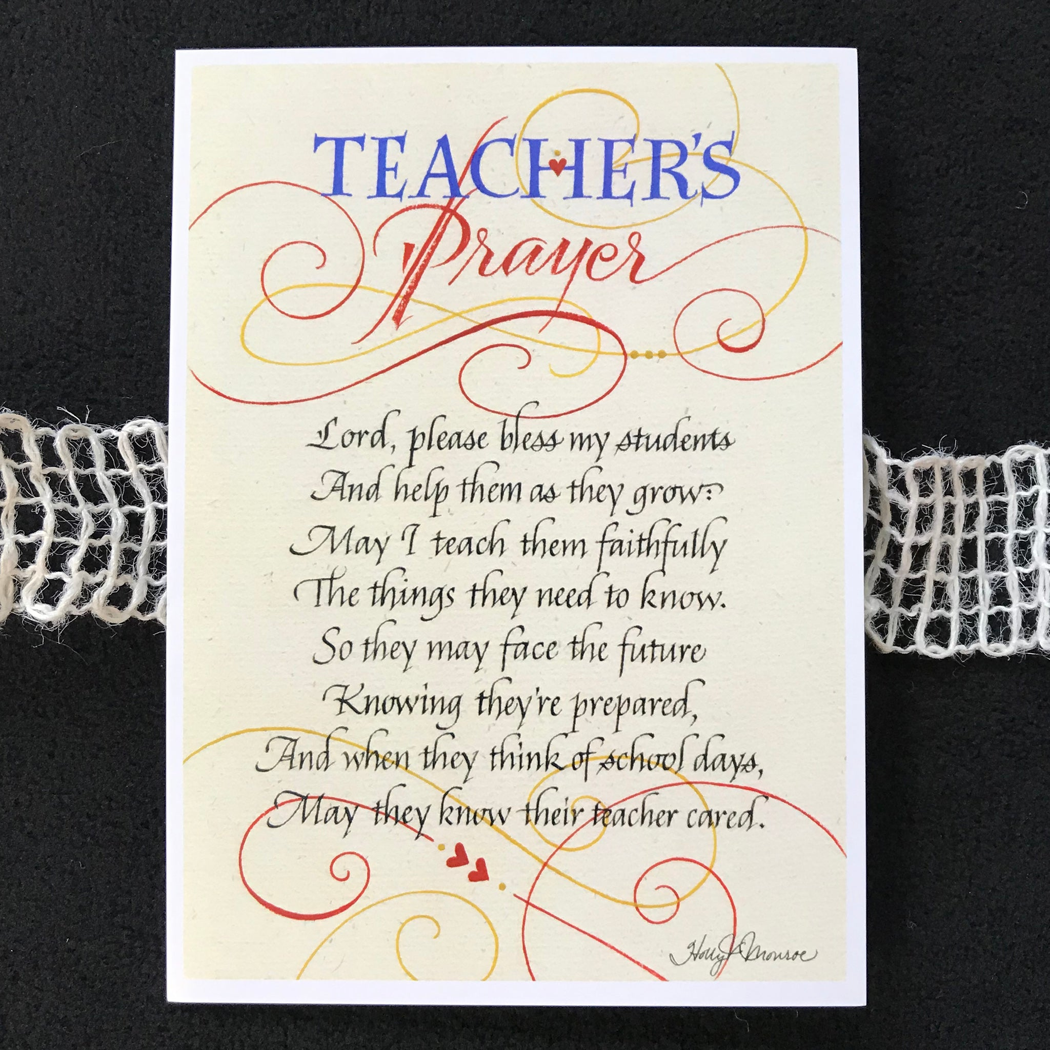 Teacher's Prayer | Holly Monroe Calligraphy – Heirloom ...