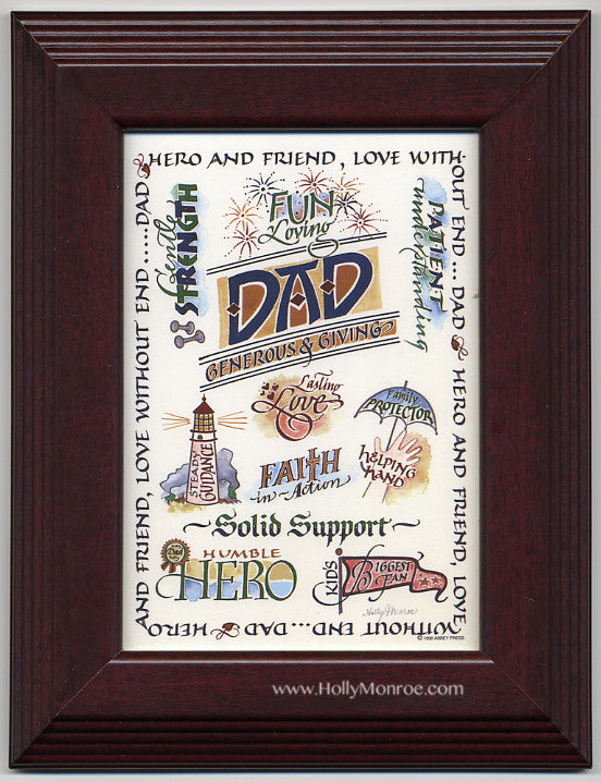 Dad Generous & Giving framed calligraphy print Holly Monroe