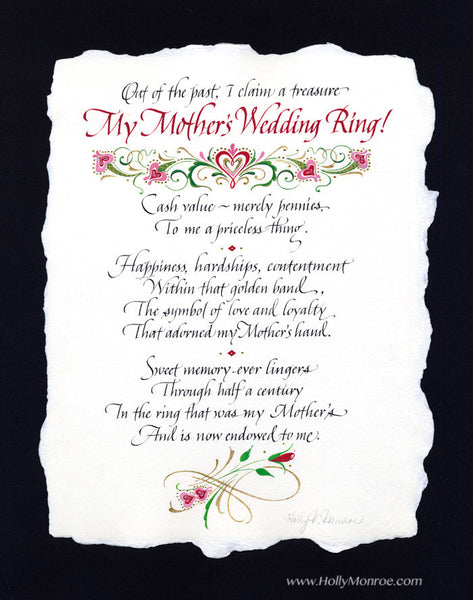 My Mother's Wedding Ring Holly Monroe Calligraphy Print