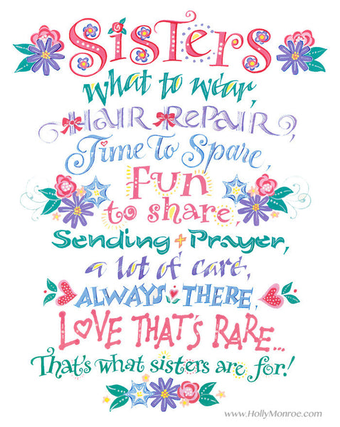Sisters What To Wear Holly Monroe Calligraphy Print