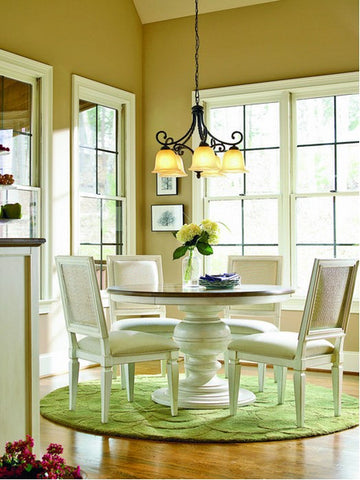 The Best Size For Your Dining Room Rug - Square rug under round table